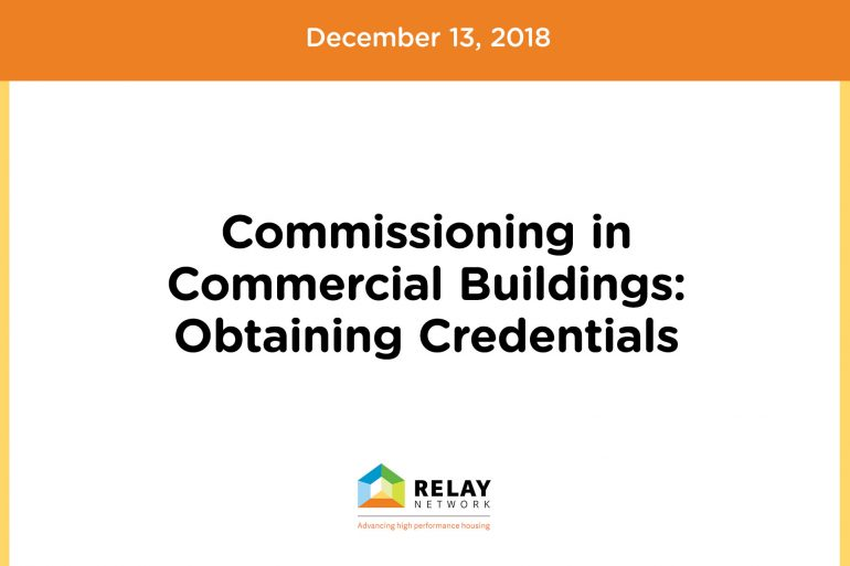 Commissioning in Commercial Buildings: Obtaining Credentials